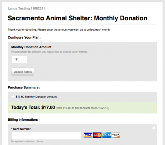 recurring monthly donations Chargify