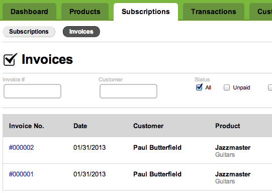 recurring invoices Chargify